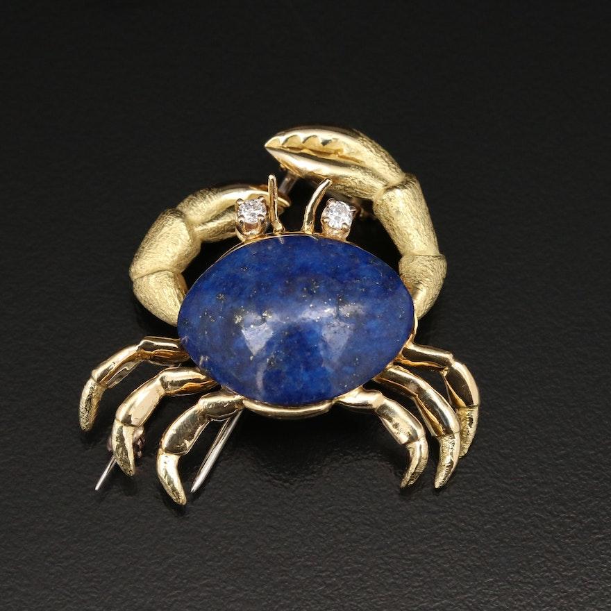 Tiffany & Co. 18K Gold Lapis Lazuli and Diamond Crab Brooch
