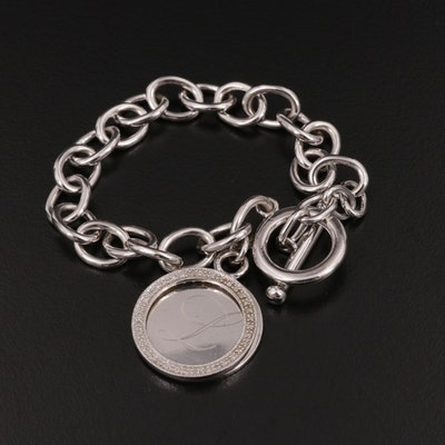 Sterling Silver Diamond Chain Bracelet With Charm