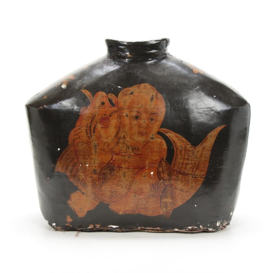 Hand-Painted Gesso Wicker Vase, Antique