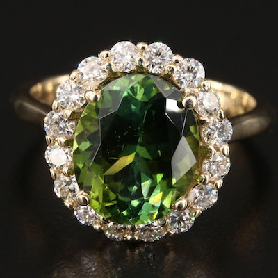 14K Gold 3.76 CT Tourmaline and Diamond Ring
