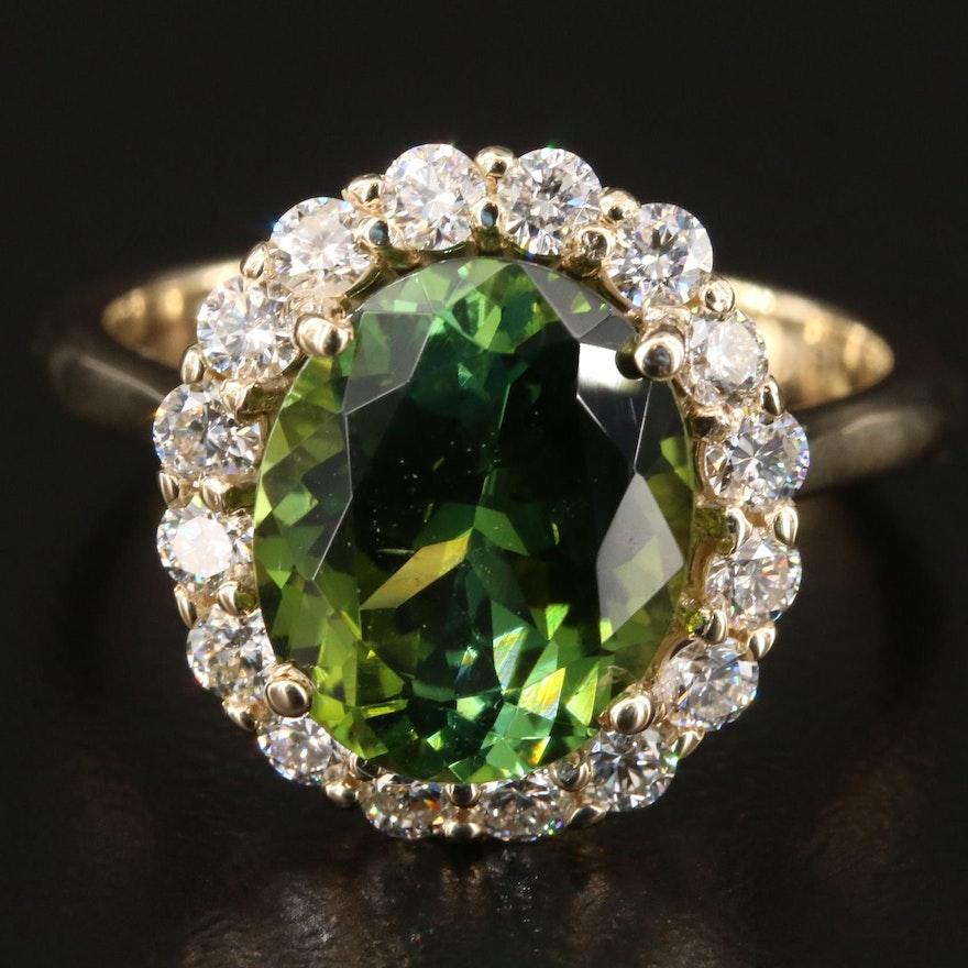 14K Gold 3.76 CT Tourmaline and Diamond Ring