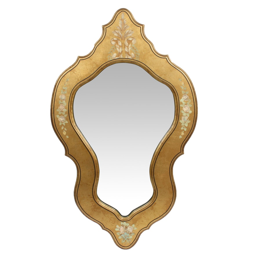 Hand-Painted Floral Motif Gold Tone Wall Mirror