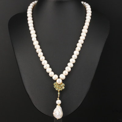 Single Strand Cultured Pearl and Peridot Necklace with Sterling Clasp
