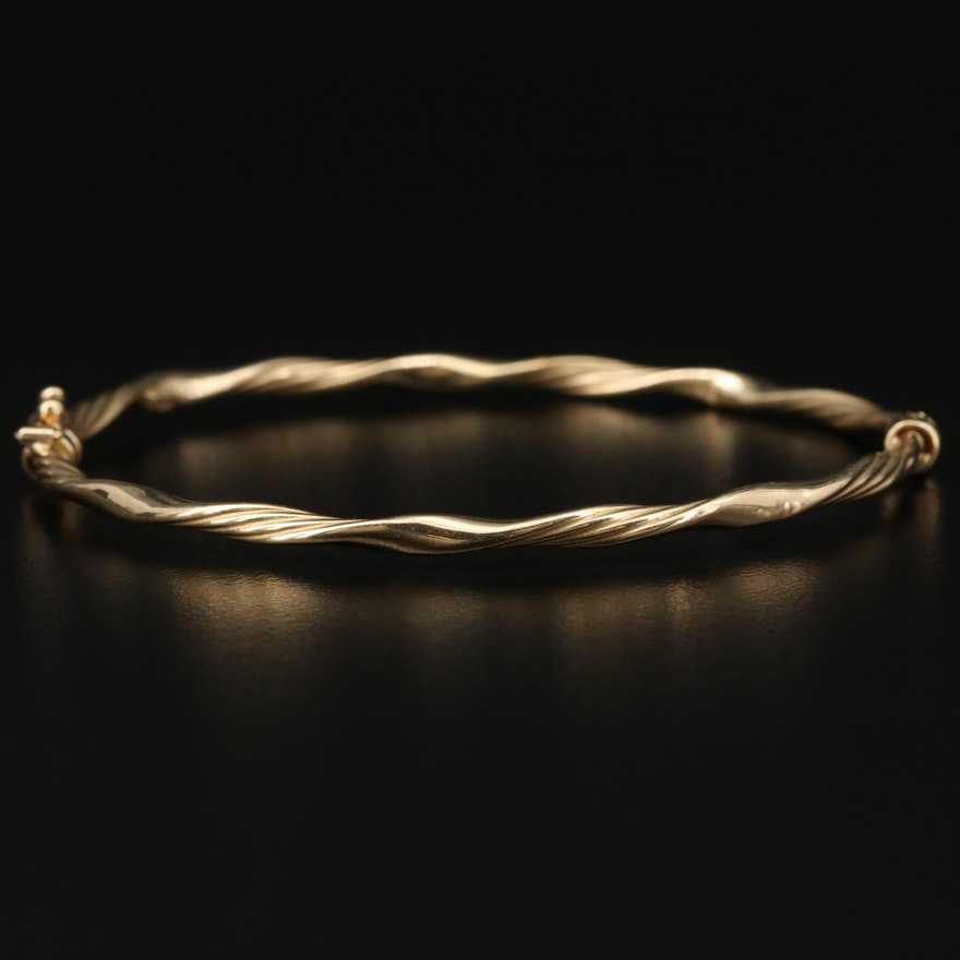 14K Hinged Twisted Bracelet