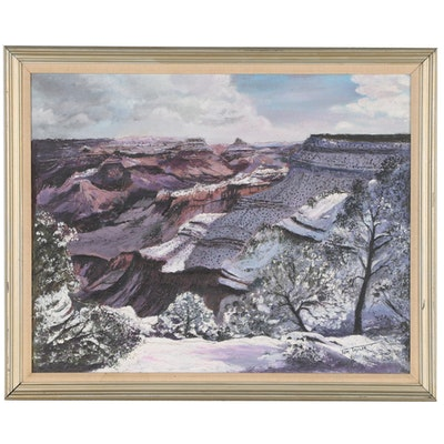 "Tom Taylor Impasto Landscape Oil Painting of Canyon ""Cold Beauty"""