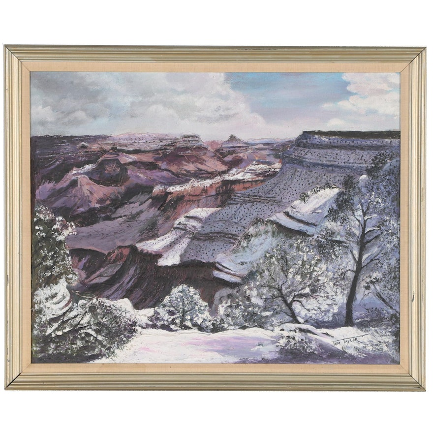 """Tom Taylor Impasto Landscape Oil Painting of Canyon """"Cold Beauty"""""""