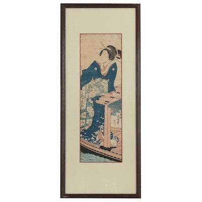 Japanese Ukiyo-e Woodblock Print of Woman at Table, Meiji Period