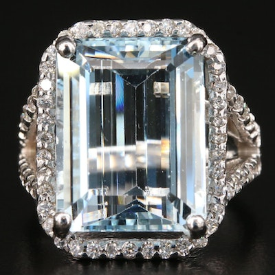 14K Gold 10.28 CT Aquamarine and Diamond Ring