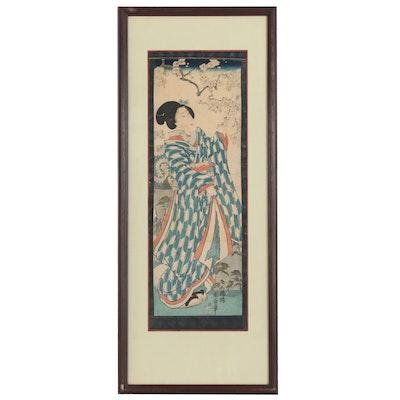 Japanese Ukiyo-e Woodblock Print of Woman in Garden, Meiji Period