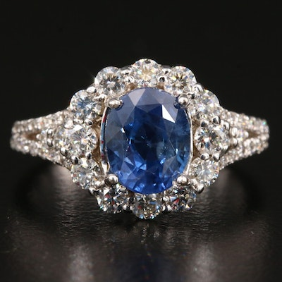 18K Gold 2.05 CT Blue Sapphire and 1.00 CTW Diamond Ring