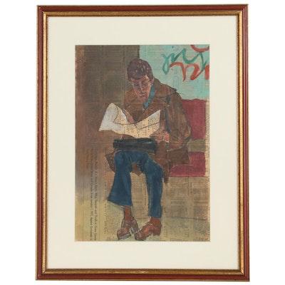 "Joseph Solman Gouache Painting ""The Yankee Squire"""
