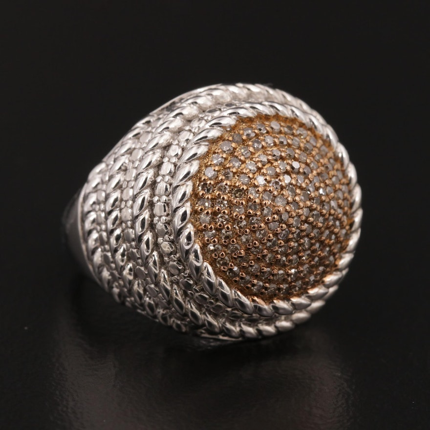 Sterling Diamond Dome Ring