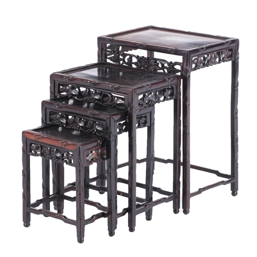 Four Chinese Hardwood Graduated Side Tables, 20th Century