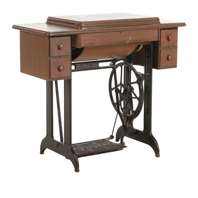Singer Sewing Machine Wood and Cast Iron Cabinet Table