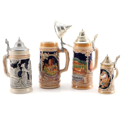 German Earthenware Beer Steins
