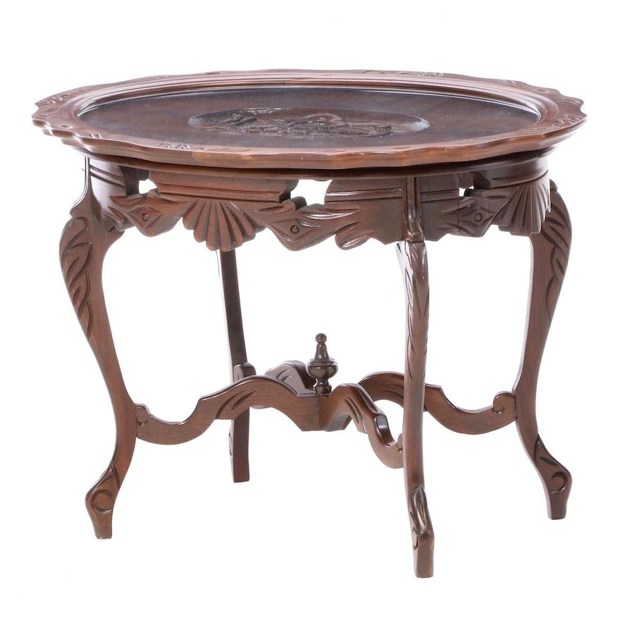 Italian Carved Walnut Coffee Table, Mid-20th Century