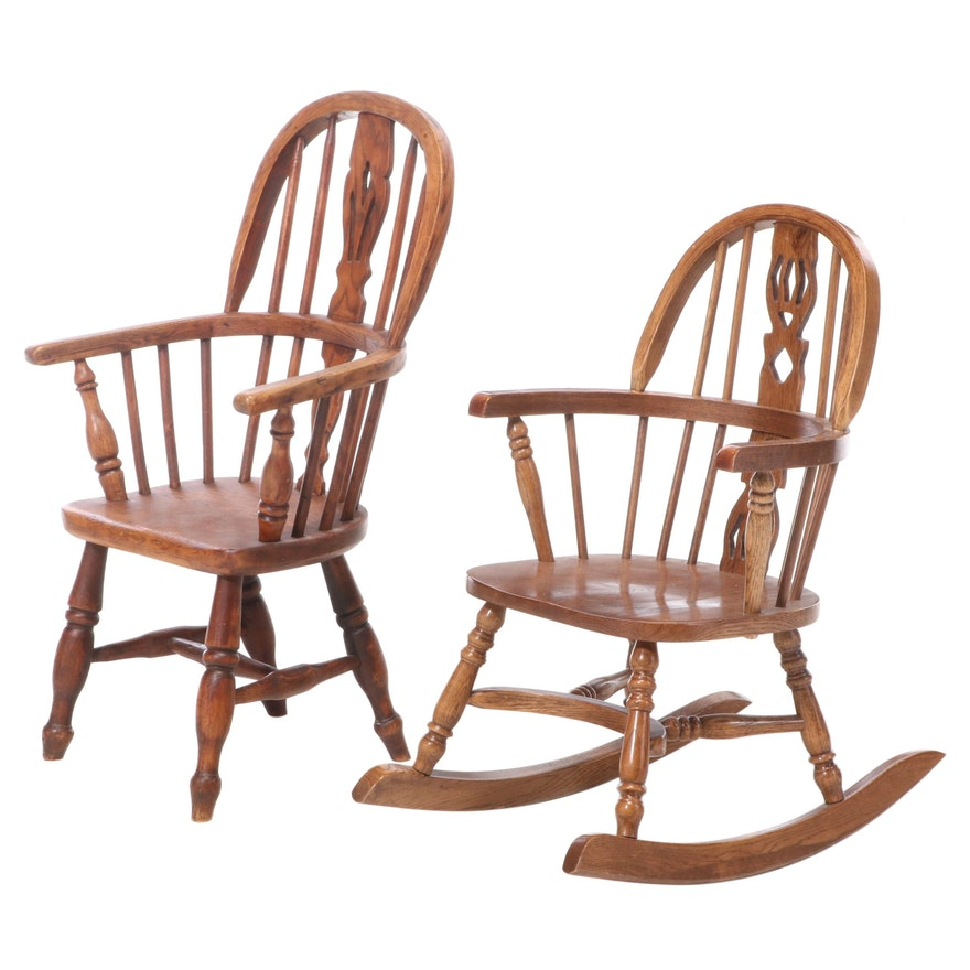 Two Child's Windsor Chairs in Ash, Elm, and Oak, Late 19th Century and Later