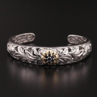 Sterling Silver Sapphire Cuff Bracelet Featuring Foliate Motif