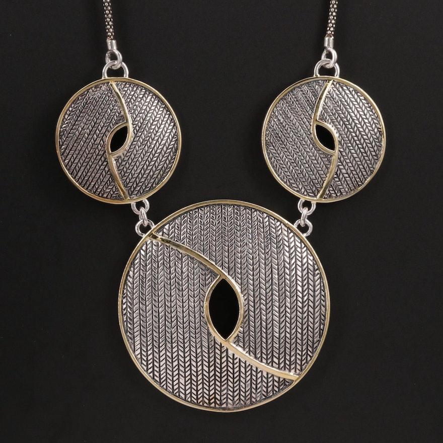 Sterling Silver Necklace with Popcorn Chain and Woven Motif