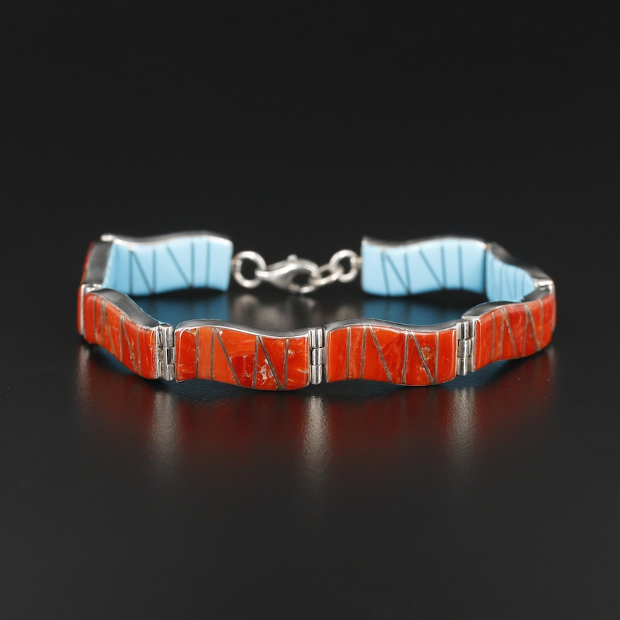 Sterling Silver Coral and Turquoise Reversible Bracelet