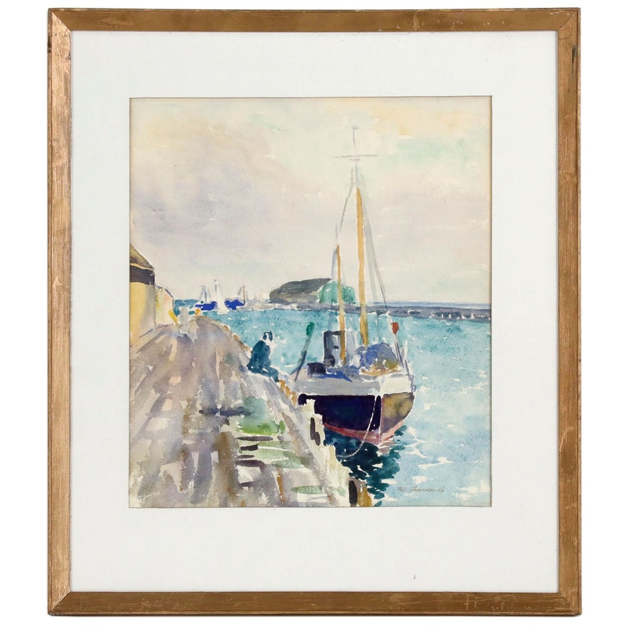 H. Macdonald Watercolor Painting of Sailboat at Wharf