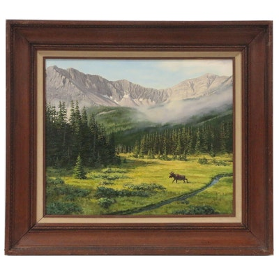 Dwayne Brech Landscape Oil Painting of Moose in Mountain Meadow