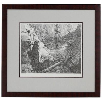 "Contemporary Lithographic Print of Landscape ""Near Dan Lakes"""