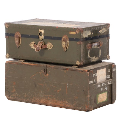 Painted U.S. Army Footlocker Chests, Mid 20th Century