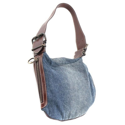 Fendi Denim and Dark Brown Leather Oyster Shoulder Bag