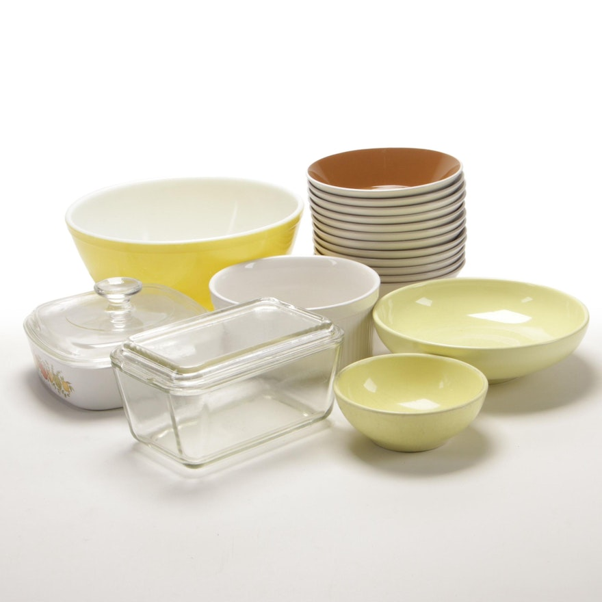 Pyrex Mixing Bowl, Iroquois by Russel Wright Bowls, and Other Bakeware