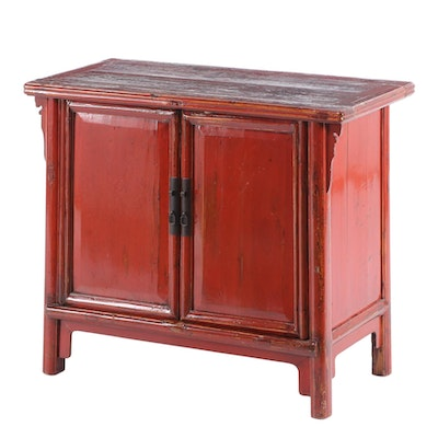Chinese Red Lacquered Elm Cabinet, Early to Mid 20th Century