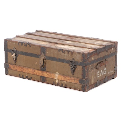 Late Victorian Green Painted Trunk Footlocker, Late 19th to Early 20th Century