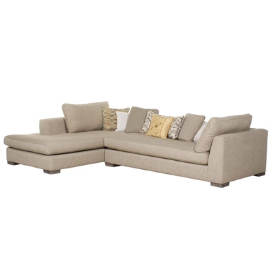 Haverty's Upholstered Sectional Sofa with Throw Pillows