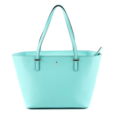 Kate Spade New York Light Turquoise Saffiano Leather Shoulder Tote
