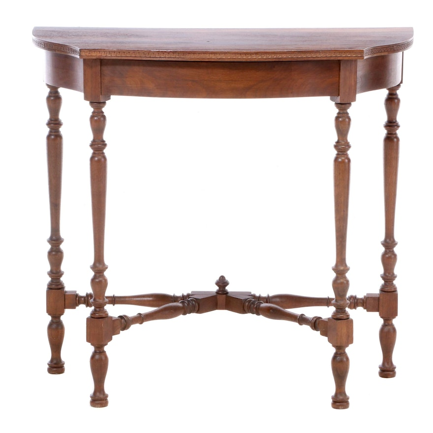 D.H. Fritts & Co. Queen Anne Style Walnut Serpentine Console Table