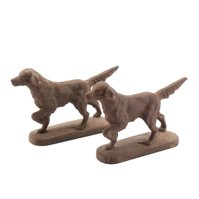 Cast Iron Sporting Dog Bookends, Early 20th Century