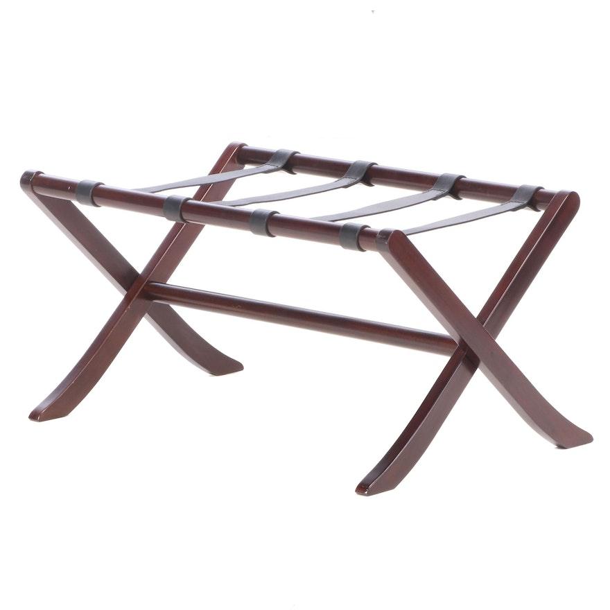 Mahogany Folding Luggage Rack with Leather Straps