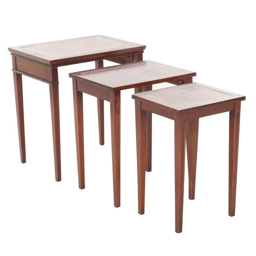 Directoire Style Leatherette Inlay Nesting Tables