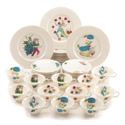 "Castleton ""Harvest"" Luncheon Plates, Teacups, and Saucers"