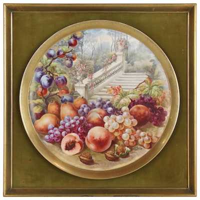 J. Golse Hand-Painted Limoges Plate with Fruit, Late 19th Century