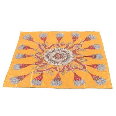 Rochas Autumnal Palette Tassel Print Silk Scarf