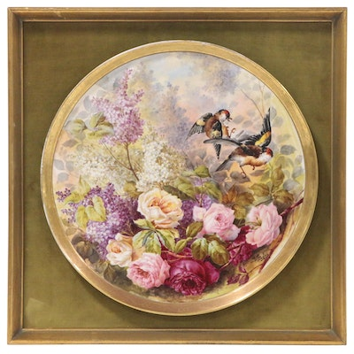 J. Golse Hand-Painted Limoges Plate with Birds and Flowers, Late 19th Century