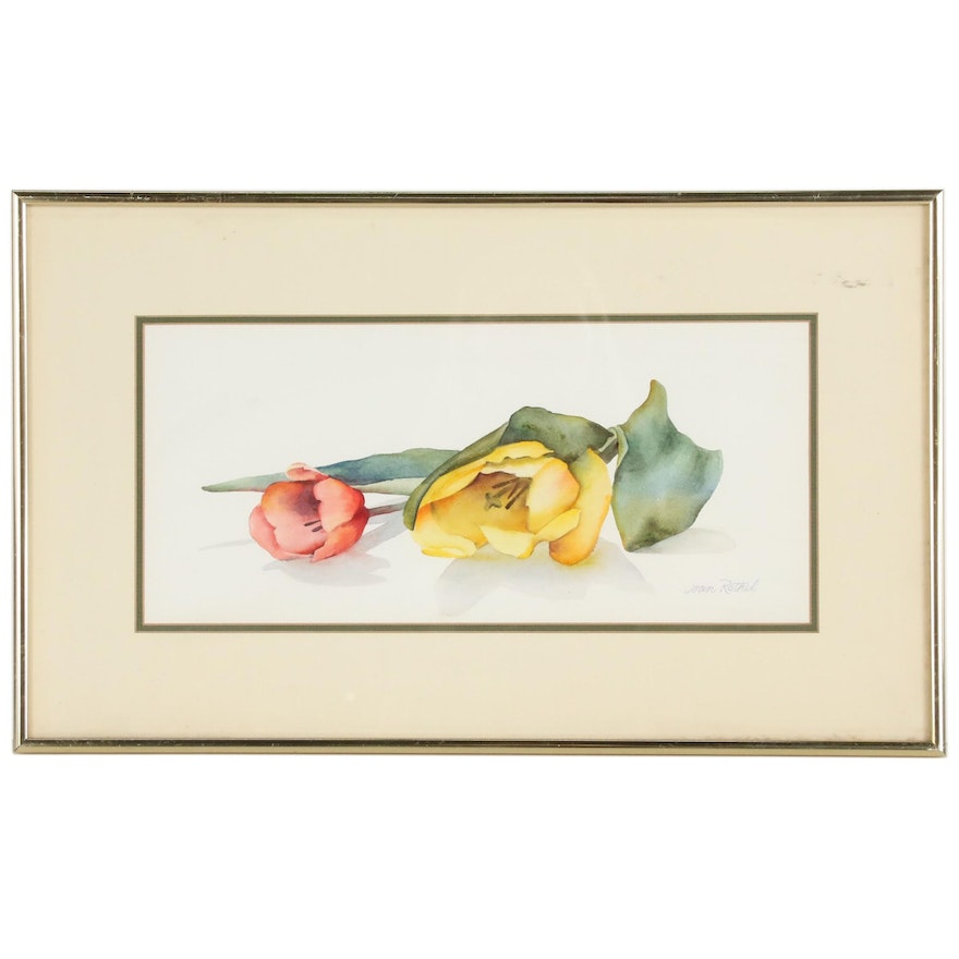 Joan Rothel Watercolor Painting of Tulips, Late 20th Century