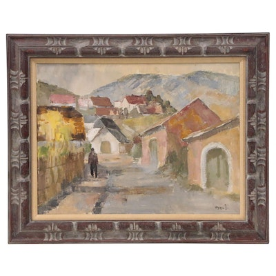 Oil Painting of Mountainside Village with Figure, Mid 20th Century