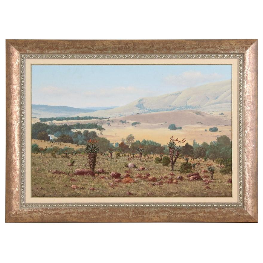 Henry Bredenkamp Bushveld Landscape Oil Painting, 2000