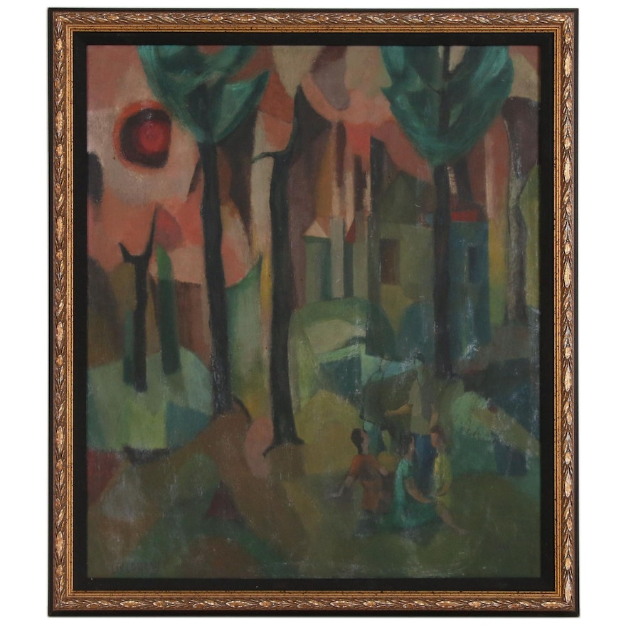 Lev Landau Abstract Oil Painting with Figures, mid 20th Century