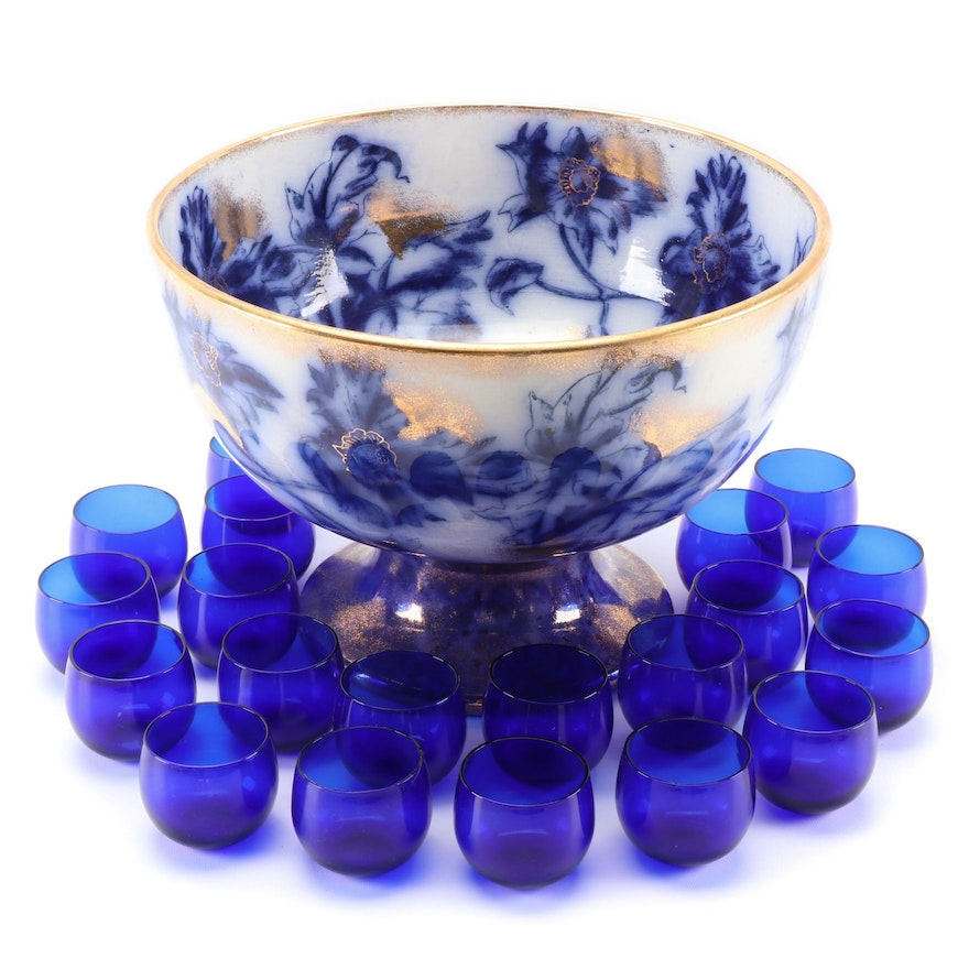 Flow Blue Ceramic Punch Bowl with Cobalt Glasses