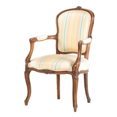 Louis XV Style Upholstered Beech Armchair, Mid to Late 20th Century