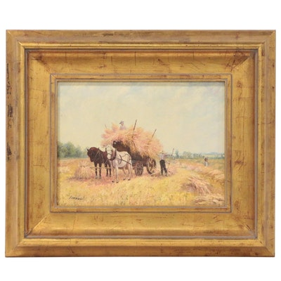 Genre Scene Oil Painting of Wheat Harvest, Late 20th Century