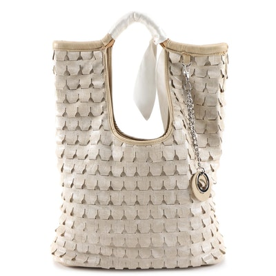 Galian Faux Leather Woven Tote Bag
